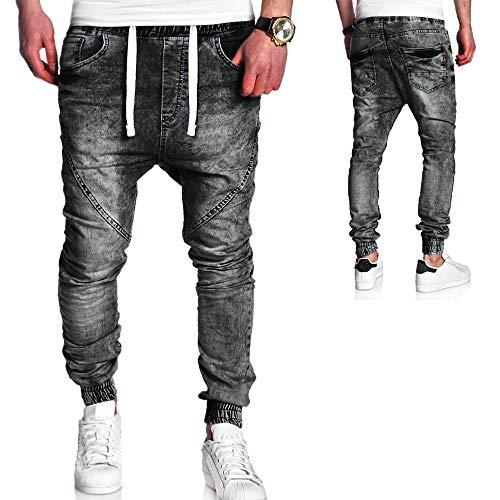Mymyguoe Herren Hose Jeanshose Jogger Sporthose Slim Fit Herren Cargo Jogger Jeans Hose Denim Lange Jeanshose für Männer Coole Jungen Freizeithose Cargo Chino Jeans Hose [Schwarz,L]