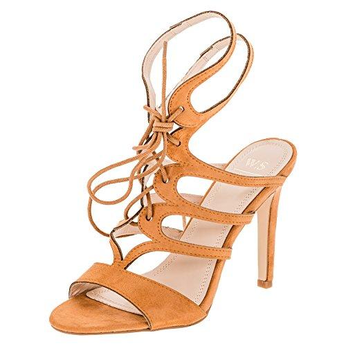 W.S Shoes Damen Sandaletten Pumps High Heels Stiletto Party Schuhe in Vielen Farben M357bn Braun 38