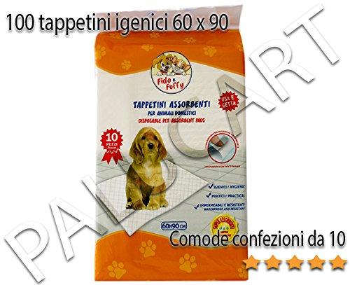 Palucart tappetini igienici assorbenti per cane pipì 60x90 super convenienti traversine x cani 100 pezzi animali domestici con adesivo anche per gatti anti odore