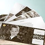 Kommunion Danksagungskarten, Transparent Kommunion 200 Karten, Kartenfächer 210x80 inkl. weiße Umschläge, Weiß