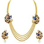 This Sukkhi Gleaming Peacock Four Strings Gold Plated Necklace Set is made of Alloy. Women love jewellery; specially artificial jewellery adore a women. They wear it on different occasions. They have special importance on ring ceremony, wedding and f...