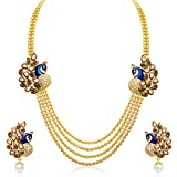 #2: Sukkhi Gold Plated Multi Strand Necklace With Drop Earring For Women