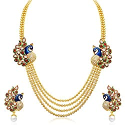 Sukkhi Gold Plated Multi Strand Necklace With Drop Earring For Women