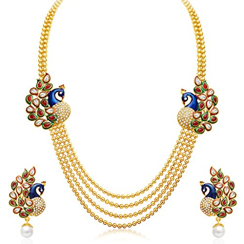 Sukkhi Gold Plated Multi Strand Necklace With Drop Earring For...