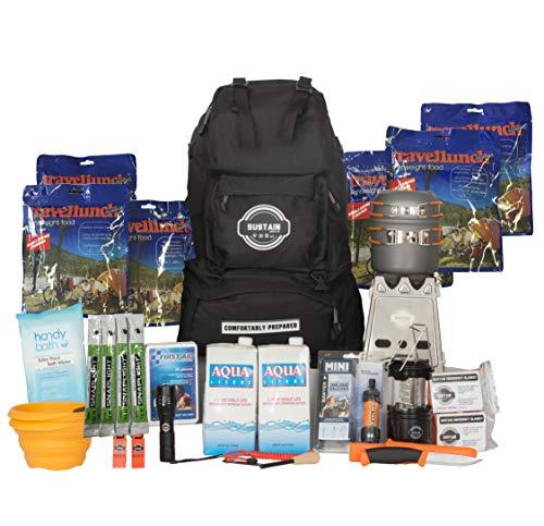 Comfort 2 - Überlebenstasche für 2 Personen - sichert eine Versorgung von 72 Stunden nach einer Katastrophe - mit hochwertigem Equipment, Essen und Trinken - inkl. Leuchten und Erste-Hilfe-Kit
