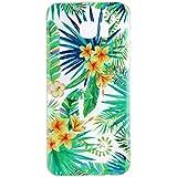 Coque pour Samsung Galaxy S7 Edge , IJIA Transparent Feuilles Vertes Fleur TPU Doux Silicone Bumper Case Cover Shell Housse Etui pour Samsung Galaxy S7 Edge