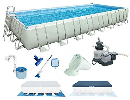INTEX 975x488x132 cm Ultra Frame Swimming Pool 28372 Komplett-Set mit Extra-Zubehör wie: Filterglas, Reinigungsset, Skimmer und Fußbad