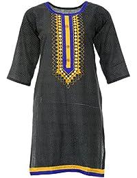 PRIYA Women's Cotton Kurta (PRIYA003--Large, Black, Large)