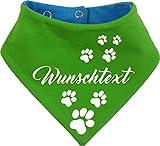 KLEINER FRATZ beidseitiges Multicolor Hunde Wende- Halstuch (Fb: lime-royal) (Gr.1 - HU 27-30 cm) mit Ihrem Wunschtext