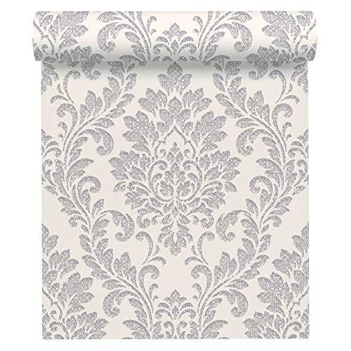 A.S. Création Vliestapete Memory 3 Tapete mit Ornamenten barock 10,05 m x 0,53 m metallic weiß Made in Germany 329841 32984-1