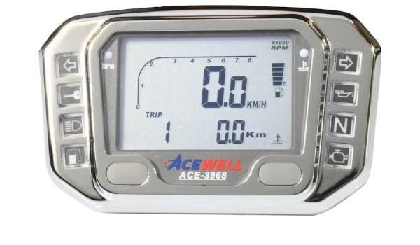 Acewell Ace 3968ac Digitaler Motorrad Quad Atv Tachometer Mit Drehzahlmesser Led Kontrollleuchten Ganganzeige Aus Hochwertigem Aluminium Verchromt Auto