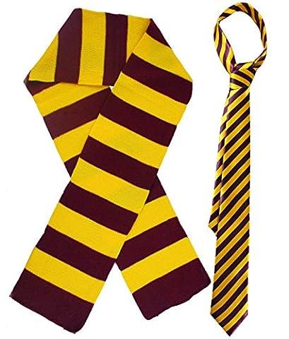 Kostüm für Kinder–Schule der Magie: Set-Krawatte gestreift und Schal in Pendant für kleine Zauberer und Hexen taglia unica MAROON &