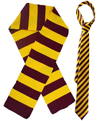 Kostüm für Kinder–Schule der Magie: Set-Krawatte gestreift und Schal in Pendant für kleine Zauberer und Hexen taglia unica MAROON & YELLOW