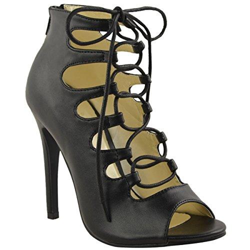 Sandales A Bout Ouvert Avec Talons Aiguilles / A Lacets Pour Femmes - Style spartiate Simili-cuir Noir