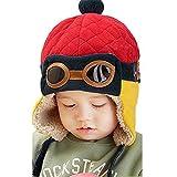 Berretti e cappellini bambino, invernale Cappa calda Beanie Earflap Cappello Per i più piccoli Ragazzino Aviatore pilota (Rosso)