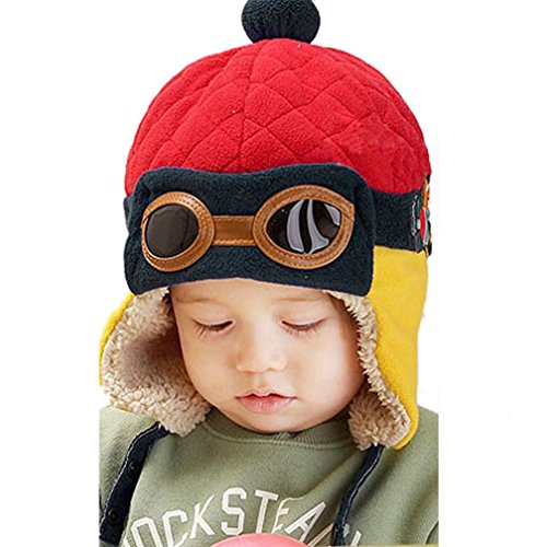 Hut, warme Baby Kid Winter Earflap Pilot Cap Fliegerhut Beanie Flug Helm (Rot) ()