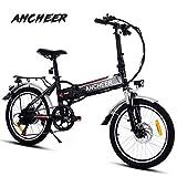Ancheer Elektrofahrrad Faltbares Mountainbike, 26/20 Zoll Reifen Elektrisches Fahrrad Ebike mit 250W bürstenlosem Motor und 36V 8Ah Lithium-Batterie Shimano 21/7 -Gang