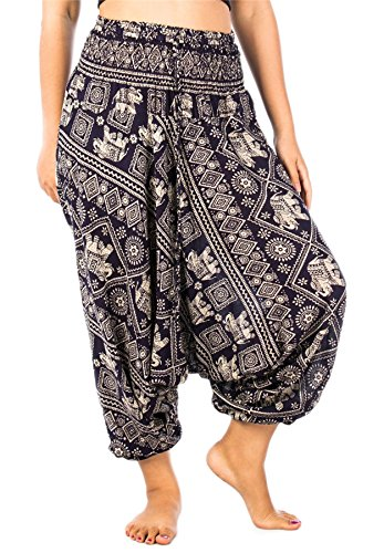 Lofbaz Mujeres Elefante Sello 2 in 1 Harén Mono Pantalones Azul Oscuro XL