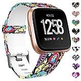 HUMENN Kompatibel für Fitbit Versa Armband/Fitbit Versa 2 Armband, Wasserdichtes Blume Ersatz Armbänder Musterband für Fitbit Versa/Fitbit Versa Lite Smartwatch, Große Bunter Jellyfish