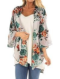 b08901ec380 U.Expectatin Cover Up Fashion Cardigan, Women Girls Plus Size Chiffon  Floral Kimono Loose