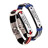 Couples His & Hers Leather Inspirational words Bracelet Cuff Wristband Rock Punk Biker 2 Pieces