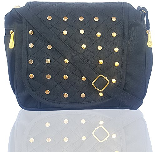 Typify Leather PU Women & Girls Casual College Office Stylish Latest Sling Bags (Black)