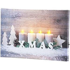 infactory Bilder: Wandbild Kerzen im Schnee mit LED-Beleuchtung, 30 x 20 cm (LED Leinwand)