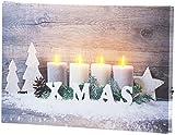 infactory LED Leinwandbild: Wandbild Kerzen im Schnee mit LED-Beleuchtung, 30 x 20 cm (LEDbild)