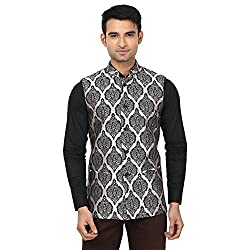 QDesigns Mens Nehru Jacket (WJ_10_Silver & Black_46)