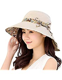 23bc9aac Gemini_mall® Womens Sun Hat Summer Reversible UPF 50+ Beach Hat Foldable  Wide Brim Cap
