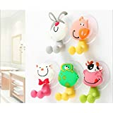 kid Toothbrush holder Animals Suction For Wall Mounted Bathroom 5 Set - Cat, Rabbit, Frog, Pig, Cow