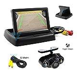 Monitor retromarcia per auto, camper, barca etc da 4.3' richiudibile AV1 per cruscotto abbinato a Telecamera mirror specchio 2 led infrarossi per visione notturna e 5mt di cavo