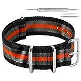 AUTULET 20mm bande un pezzo di orologi in nylon stile NATO perlon cinghie degli uomini del nero/grigio/arancio
