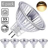MR16 Halogène Ampoules 35W Blanc Chaud 2800K Ketom GU5.3 Réflecteur Halogènes Basse Tension Dimmable 12V 330LM Angle de Faisceau de 120° Ø 51mm Lot de 6 Halogène Ampoules MR16...