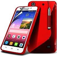 ( Red ) Huawei Ascend G620s Hülle Abdeckung Cover Case schutzhülle Tasche Protective S zeichnen Wellen-Gel-Kasten-Haut-Abdeckung mit LCD-Display Schutzfolie, Poliertuch und Mini-versenkbaren Stift durch Aventus