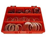 Premium Imperial cobre arandelas Kit hecho de alto grado de cobre que contiene 7tamaños, para ingenieros, electricistas, mecánica y bricolaje uso.