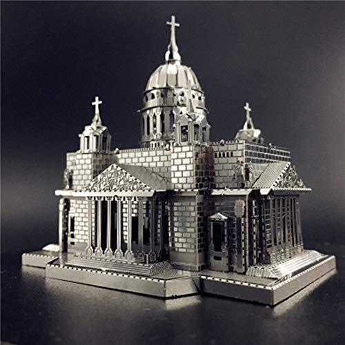 MQKZ Isajip Kirche Metall gebäude Puzzle Modell handgemachte kreative Geschenk DIY 3D laserschneiden Puzzle Spielzeug Silber + Werkzeug b one Size