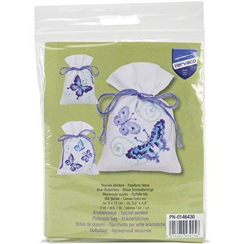 Vervaco - Kit punto croce numerato, per realizzare sacchetti per pot-pourri con motivo a farfalle blu, set da 3