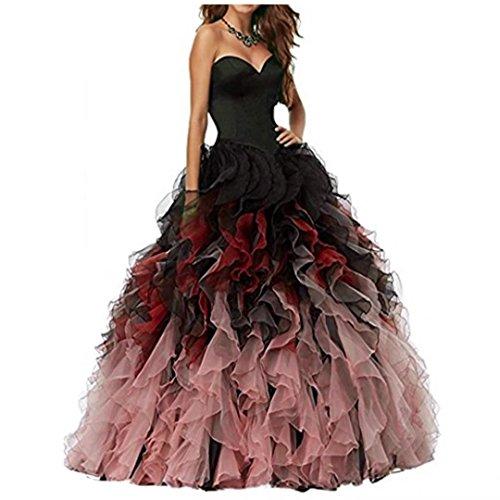 NUOJIA A Linie Herzausschnitt Quinceanera Kleid mit Rüschen Lang Prinzessin Ballkleid Festkleid...
