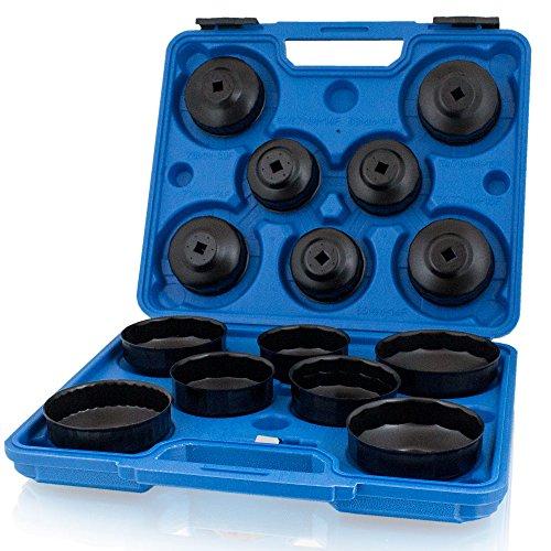 BITUXX® 15 tlg teiliges universal Ölfilterkappen Ölfilterschlüssel Ölfilterwechsel Ölfilter Abzieher Set für PKW Auto (Werkzeug ölfilter)