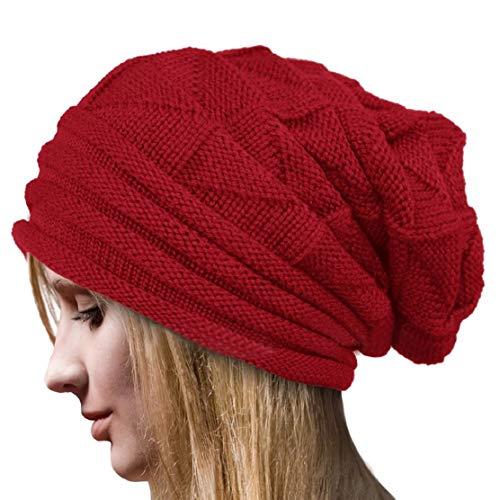 Xt_direct cappello lavorato a maglia in maglia monocromatica da donna cappello lavorato a maglia caldo da donna in maglia a maniche lunghe, caldo inverno freddo - 5 colori (rosso)