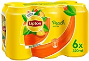 Lipton Ice Tea Peach, Non-carbonated Iced Tea Drink, Cans, 6 x 320 ml