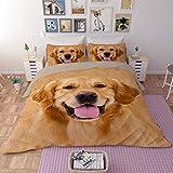 DOTBUY Bettbezug Set, 4 Teilig Bettwäsche 220 x 240cm 100% Polyester Mikrofaser Mode Gemütlich Printing Bettbezug-Set (Labrador)