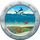 Ppa-design SEH0022 - Sticker Hublot Enfant Trompe l'oeil Mer Espadon Crabe (30x30cm)
