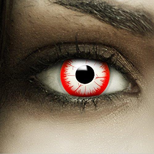 Farbige rot weiße Kontaktlinsen Night Zombie + Kunstblut Kapseln + Behälter von FXCONTACTS®, weich, ohne Stärke als 2er Pack - perfekt zu Halloween, Karneval, Fasching oder Fasnacht