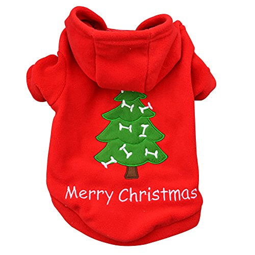 Kiao Small Dog Santa Claus Hoodies Coat Winter Clothing Christmas Holiday Velvet Pet Clothes