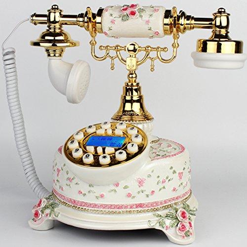 LHH Vintage estilo antiguo hogar sala de estar decor dial botón de teléfono teléfono de escritorio-A