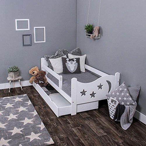 Preisvergleich Produktbild KAGU Chrisi Kinderbett Jugendbett Juniorbett Bett (140x70 cm oder 160x80 cm). Kiefernholz Massivholz inkl. Matratze und Schublade.