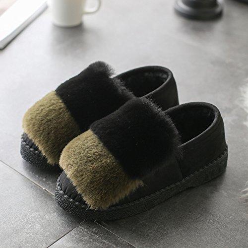 DogHaccd pantofole,Autunno Inverno pantofole di cotone spessa femmina, antiscivolo home soggiorno caldo con eleganti scarpe di cotone colore ortografico fagioli di soia Scarpa Verde scuro4