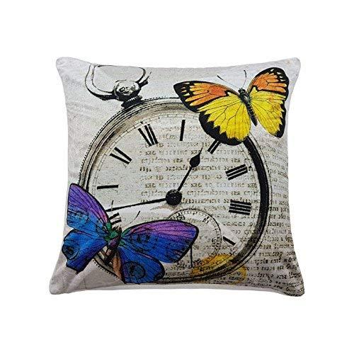 Rempli Moderne Brillant Papillon Montre Super Doux Velours Argent Jaune Coussin 17 \